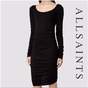 All Saints black back ruched dress